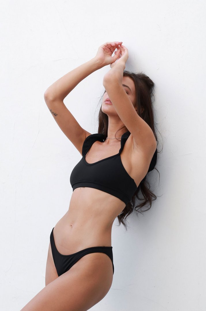 Black swimsuit with ruffle