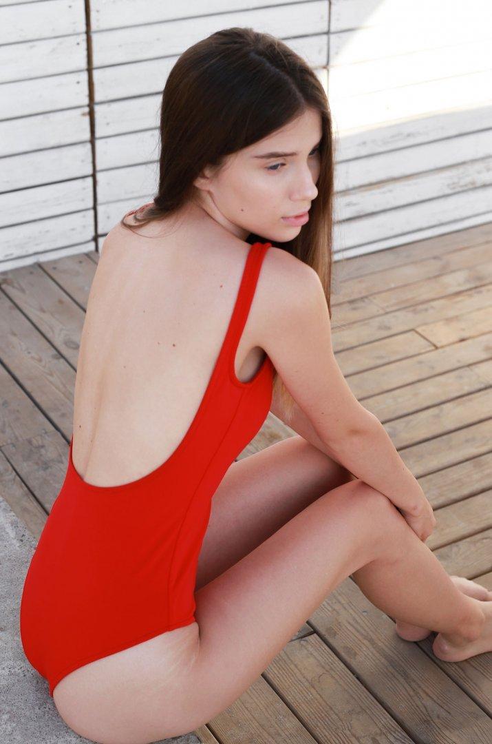 One piece swimsuit red Malibu